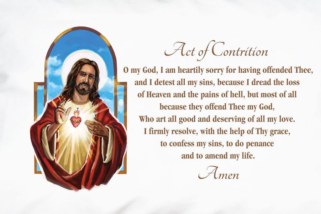 Check out the radiant illustration of the Sacred Heart featured on this Act of Contrition Prayer Pillowcase design.