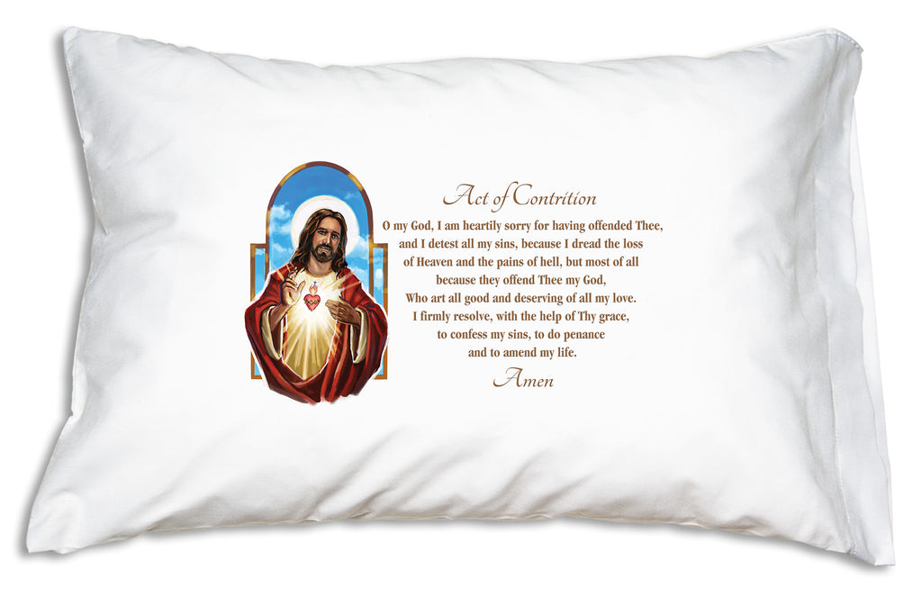 The Act of Contrition is an essential Catholic prayer. Prayer Pillowcases makes it easy to learn and pray with this Sacred Heart: Act of Contrition pillowcase.
