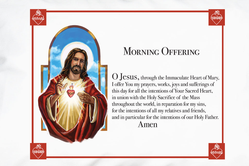 A closeup of the Sacred Heart Prayer Pillowcase with the Morning Offering prayer.