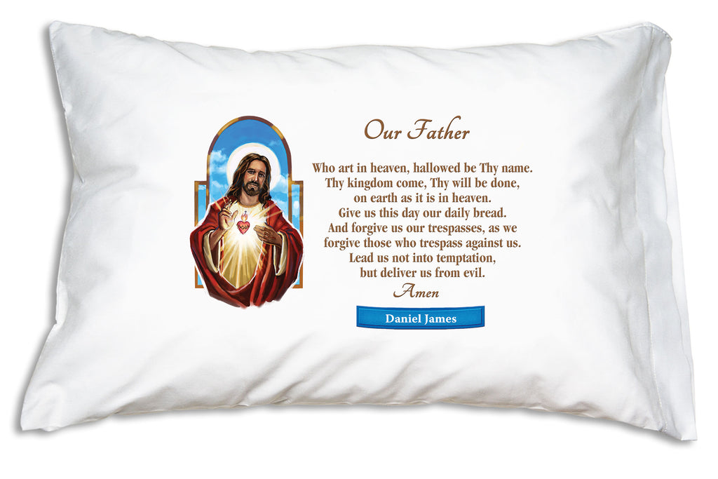 You can personalize the Sacred Heart Prayer Pillowcase like this.