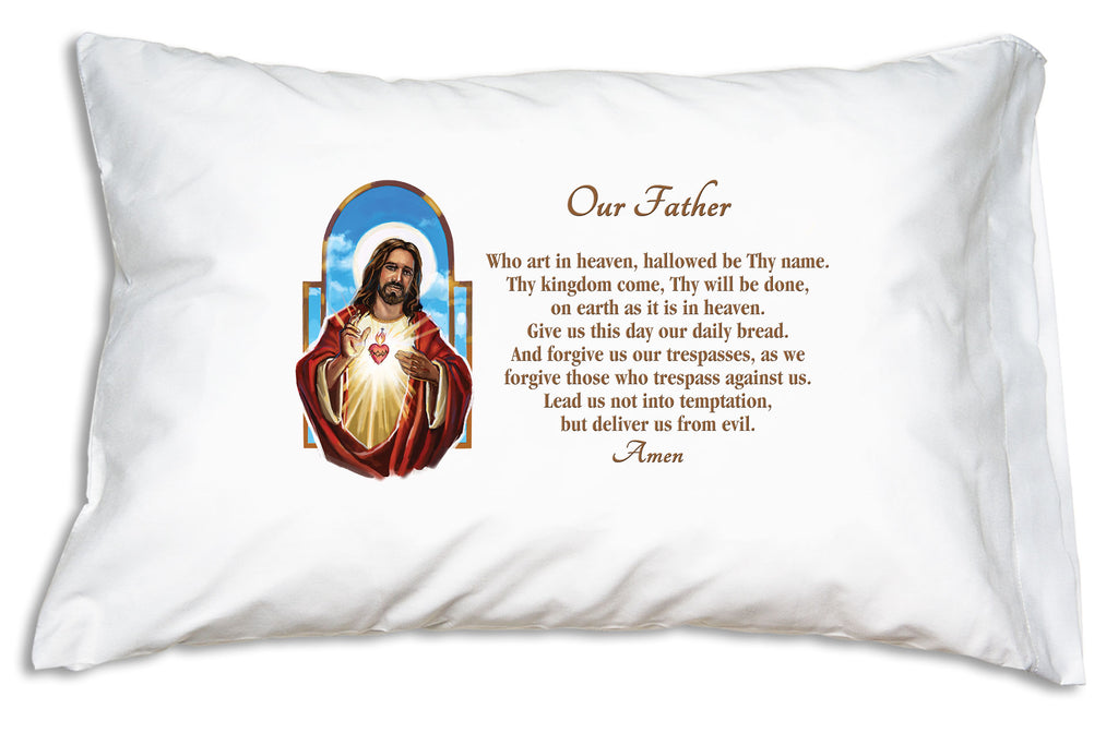 This pillow case features a beautiful illustration of the Sacred Heart with the Lord's Prayer.