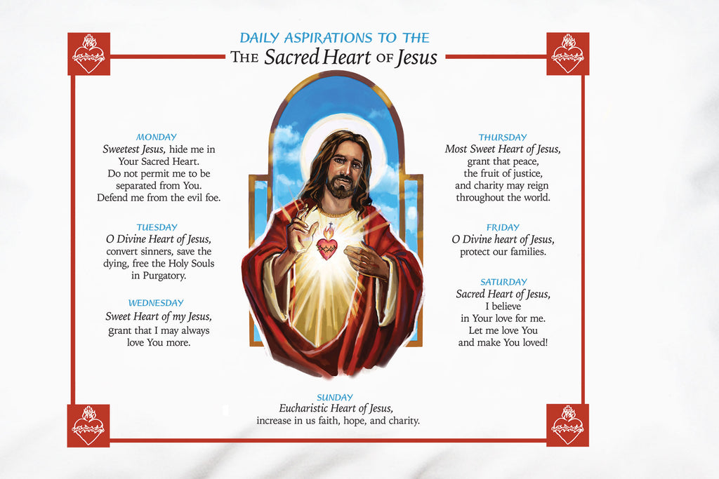 Daily Aspirations Prayer Pillowcase shares prayers to the Sacred Heart of Jesus to make it easy for children to learn them too.