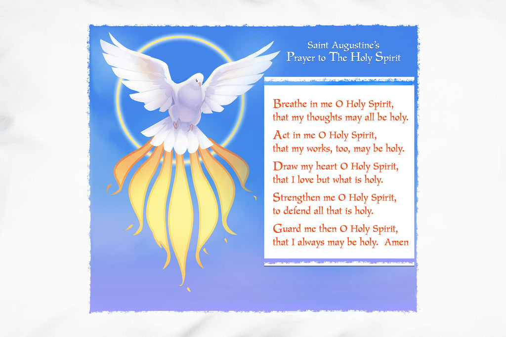Here's a detail of St. Augustine's beautiful prayer to the Holy Spirit.