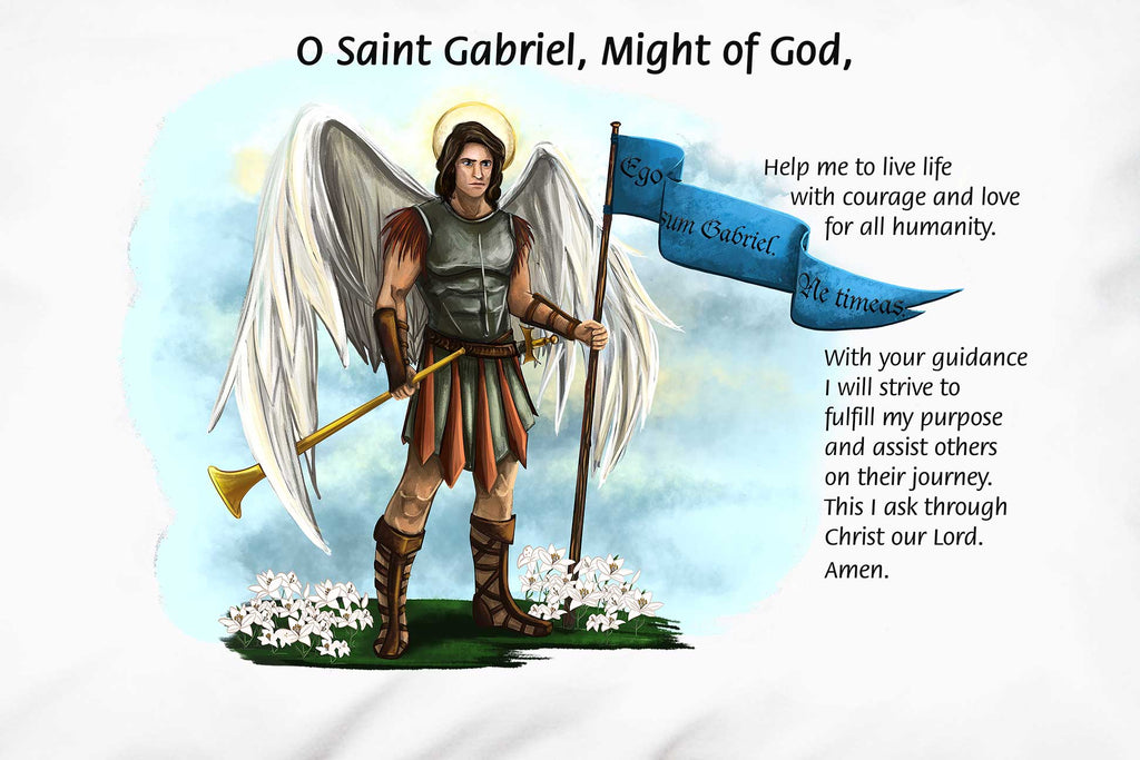 Here's a closeup of the stunning St. Gabriel the Archangel Prayer Pillowcase with a favorite prayer.