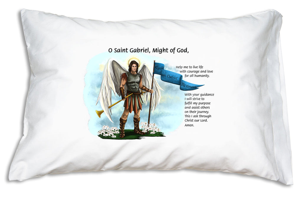 "The St. Gabriel the Archangel Prayer Pillowcase features St. Gabriel, ""the hero"" and ""strength of God"" and a traditional prayer."