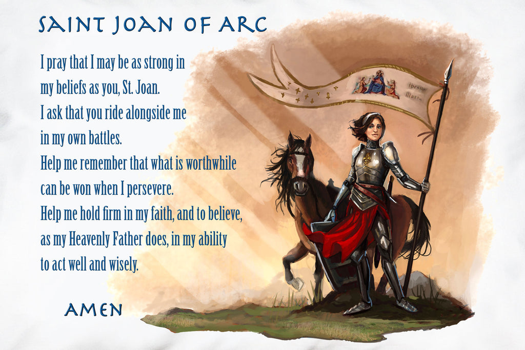 Close up of Saint Joan of Arc Prayer Pillowcase with Catholic art and prayer