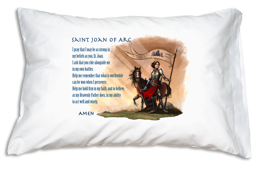 Saint Joan of Arc Prayer Pillowcase with Catholic art and prayer