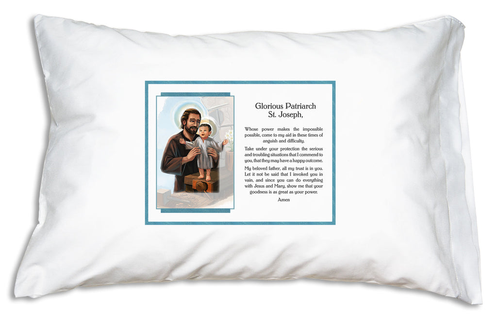 The St. Joseph Glorious Patriarch Pillowcase has a warmly illustrated portrait of the Child Jesus receiving Joseph's tender support and shares the prayer Pope Francis has prayed to St. Joseph for over 40 years.