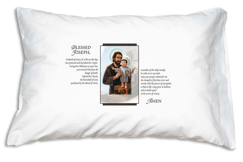 Wonderful Catholic bedding features a tender portrait of St. Joseph and the Child Jesus beside Pope Leo XIII's prayer to St. Joseph on a pillow case.
