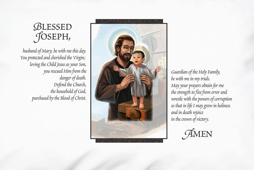 This closeup shows the tender portrait and Pope Leo XIII's loving prayer to St. Joseph on a Prayer Pillowcase.