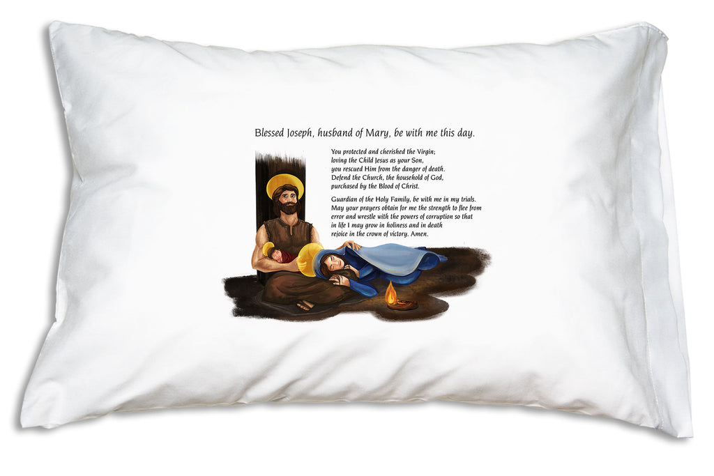 Waking to this Morning Offering to St. Joseph Prayer Pillowcase helps us grow the holy habit of morning prayer and keeps us in the company of one of the greatest saints ever, St. Joseph!