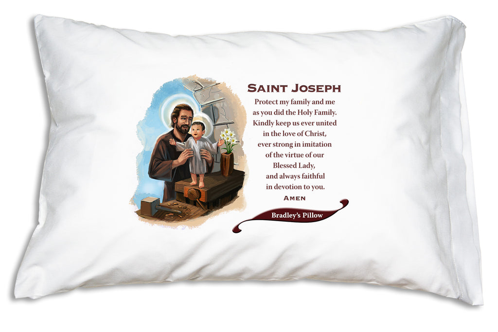 We add the name to a festive banner like this when you personalize a St. Joseph Prayer Pillowcase.