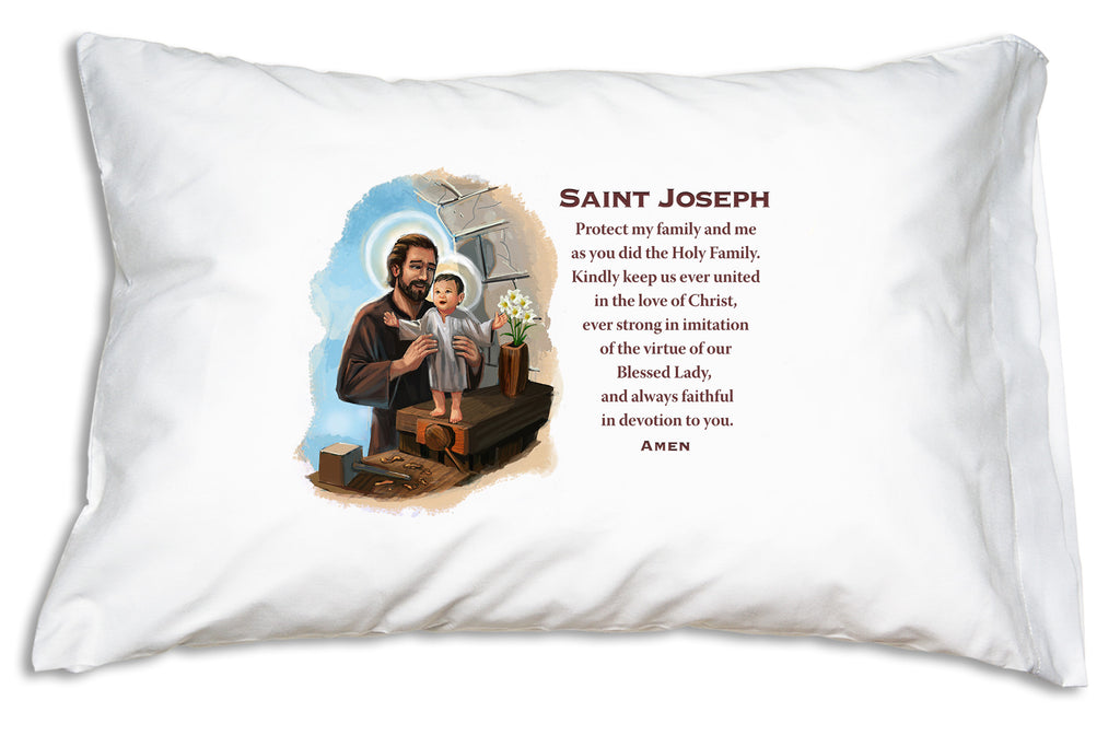 The warmly illustrated Saint Joseph Prayer Pillowcase reminds Catholics of all ages to pray for the intercession of Jesus' brave, faithful, loving earthly father.