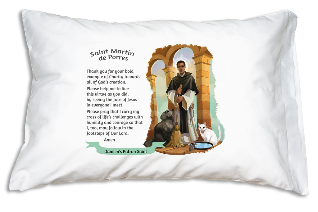 We add the name to a festive banner like this when you personalize a St. Martin de Porres Prayer Pillowcase.