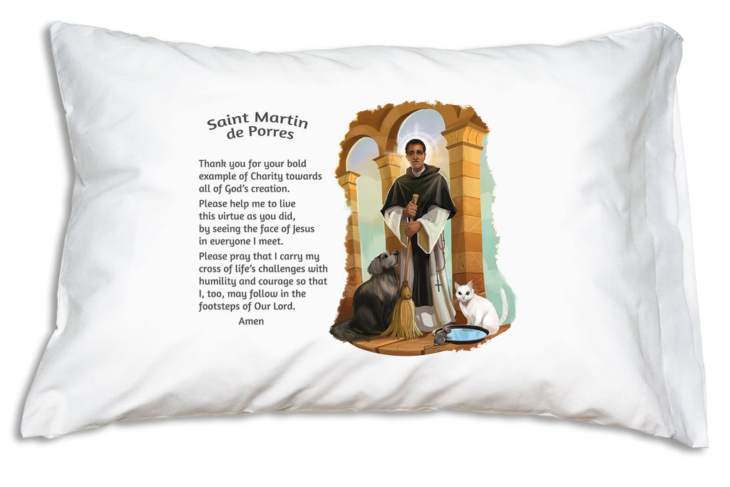 Our fun and friendly portrait of St. Martin de Porres is combined with a sweet prayer on this Prayer Pillowcase.