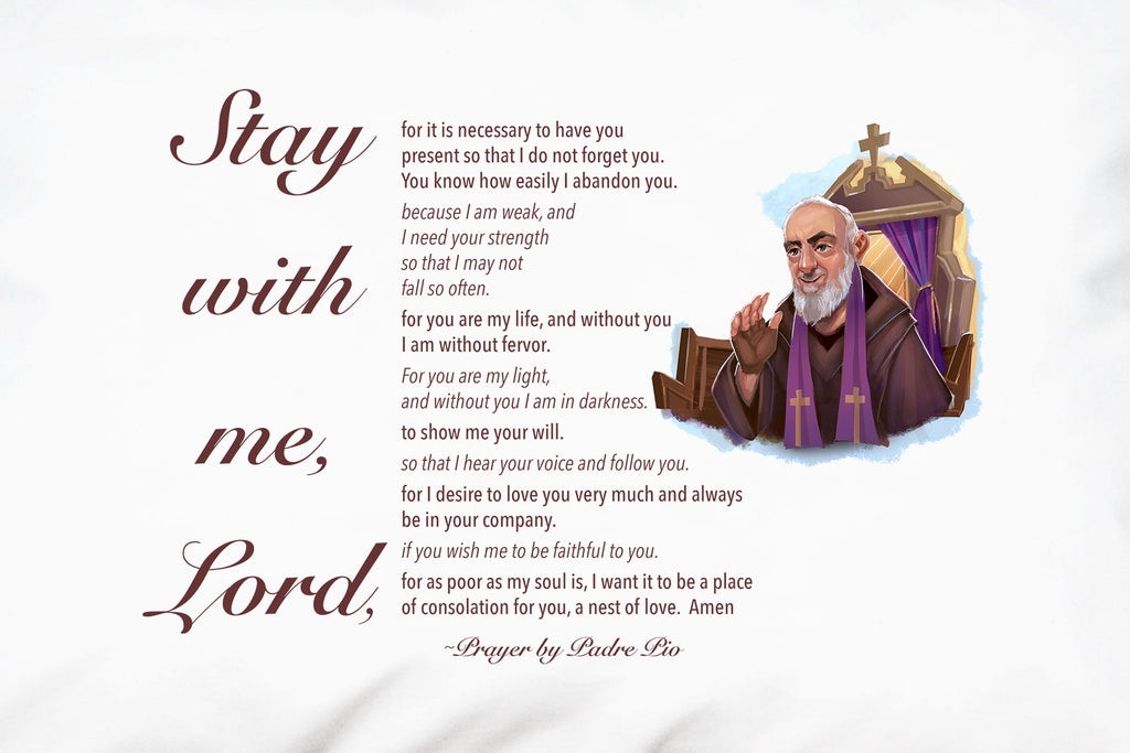 Padre Pio Prayer on Pillowcase.