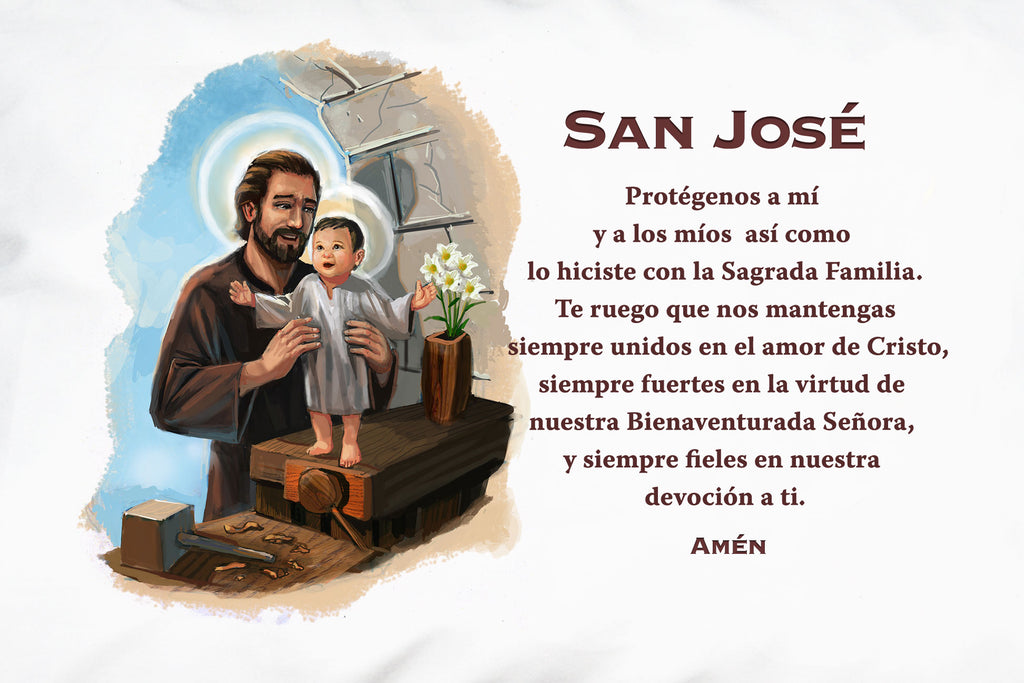 A closeup of the pretty picture and prayer on the San José Prayer Pillowcase