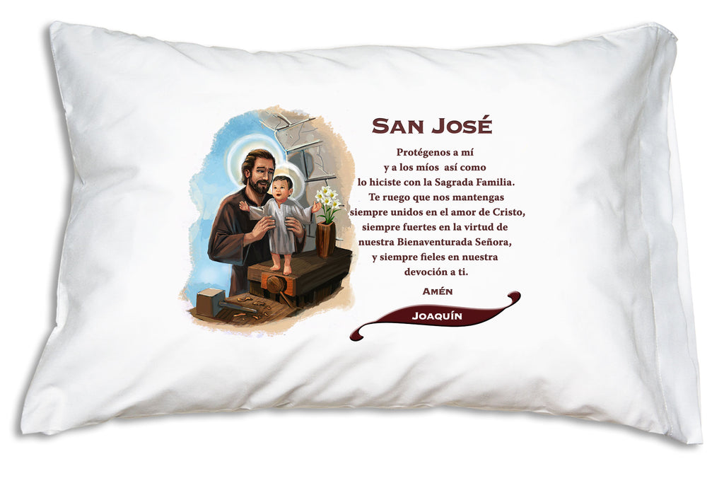 We'll add the name to a festive banner like this when you personalize San José Prayer Pillowcase