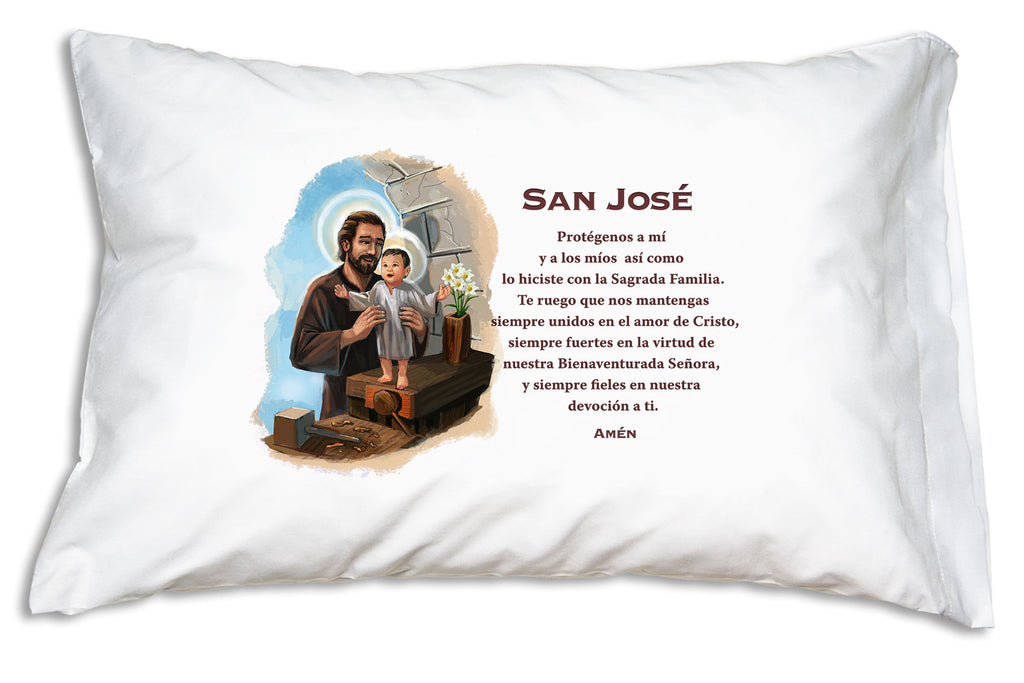 With it's pretty picture and prayer this San José Prayer Pillowcase helps us ask Saint Joseph to pray for us.
