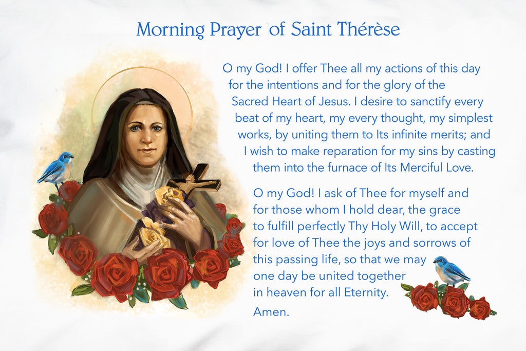 Here are the words of St. Therese's beautiful Morning Offering to Jesus printed on the devotional Prayer Pillowcase.