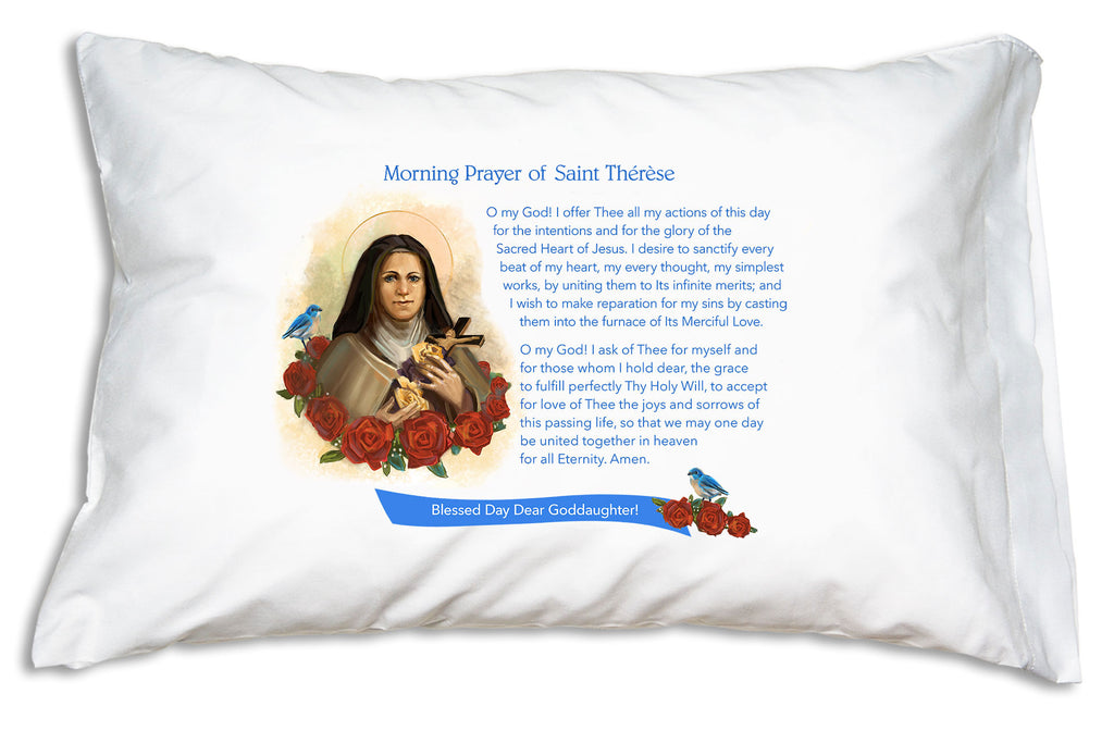 We add the name to a festive banner when you personalize this St. Therese: Morning Offering Prayer Pillowcase.