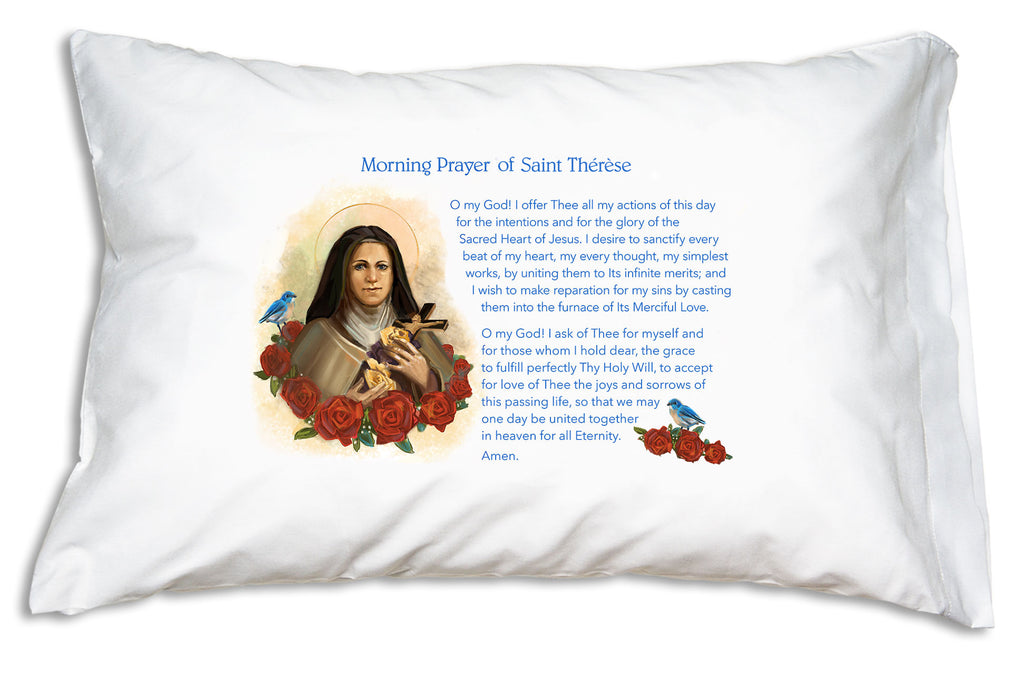 Walk with Jesus like St. Therese did! This St. Therese Morning Offering Prayer Pillowcase teaches her heartfelt prayer!