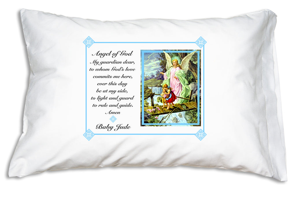 Personalize Prayer PIlllowcases Traditional Guardian Angel design for a dear Baptism gift.