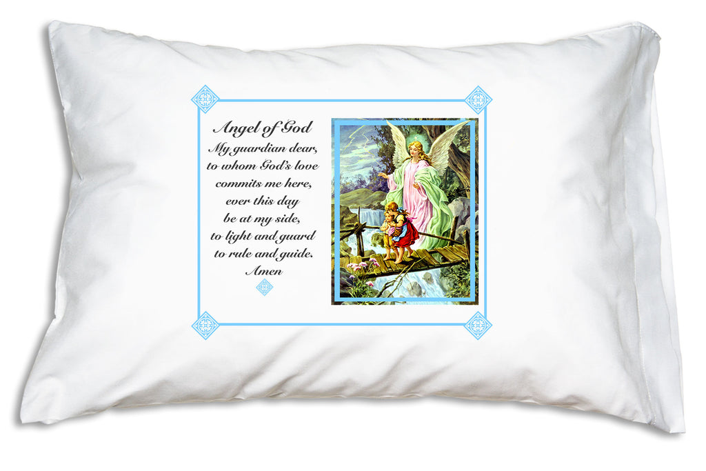 The welcoming Traditional Guardian Angel Prayer Pillowcase/Blue teaches little ones to pray to their guardian angel.