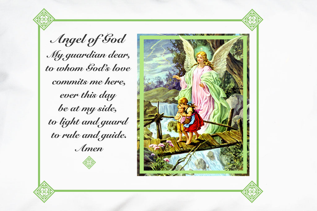 Here's a closeup of the beautifully iconic Traditional Guardian Angel Prayer Pillowcase/Green.