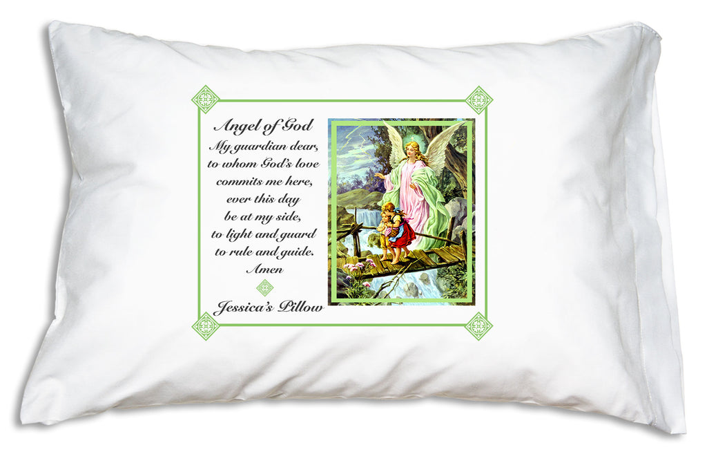 When you personalize the Traditional Guardian Angel Prayer Pillowcase/Green it will look like this.