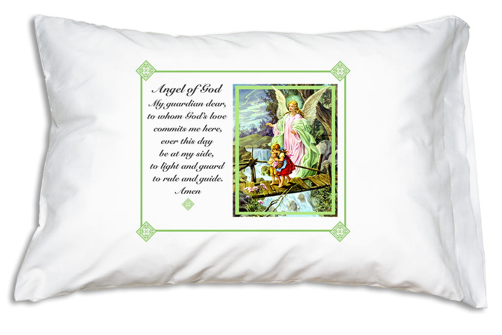 Traditional Guardian Angel Prayer Pillowcase with green frame welcomes children to bedtime, teaches them the Angel of God prayer, and makes a blessed baptism gift.