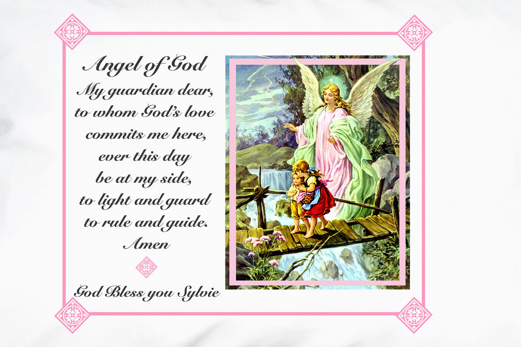 Here's a closeup of how you can personalize a Traditional Guardian Angel Prayer Pillowcase for a sweet Baptism gift.