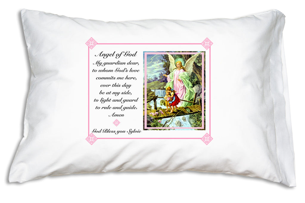 Personalize a Traditional Guardian Angel Prayer Pillowcase with pink frame for a sweet Baptismal gift.