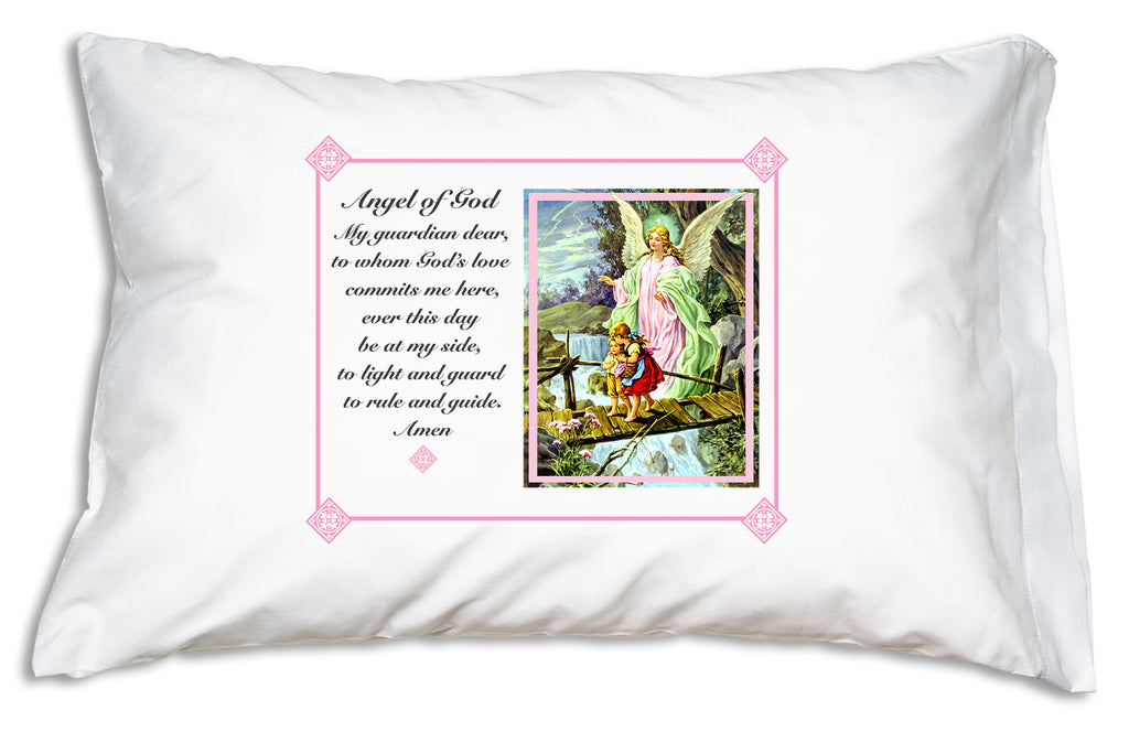 A sweetly devotional design for every Catholic home! Our Traditional Guardian Angel Prayer Pillowcase with Angel of God prayer teaches children to pray to their guardian angels.