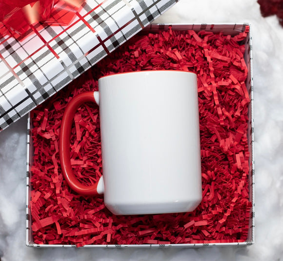 Custom 15oz White & Red Ceramic Mug