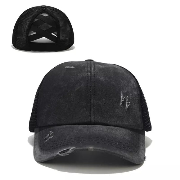 Criss Cross Ponytail Distressed Hats - WHOLESALE