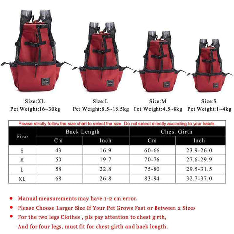 size chart of dog backpack carrier
