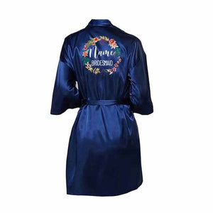 navy blue bridal robe