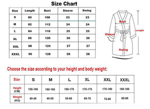 size chart for silk robes
