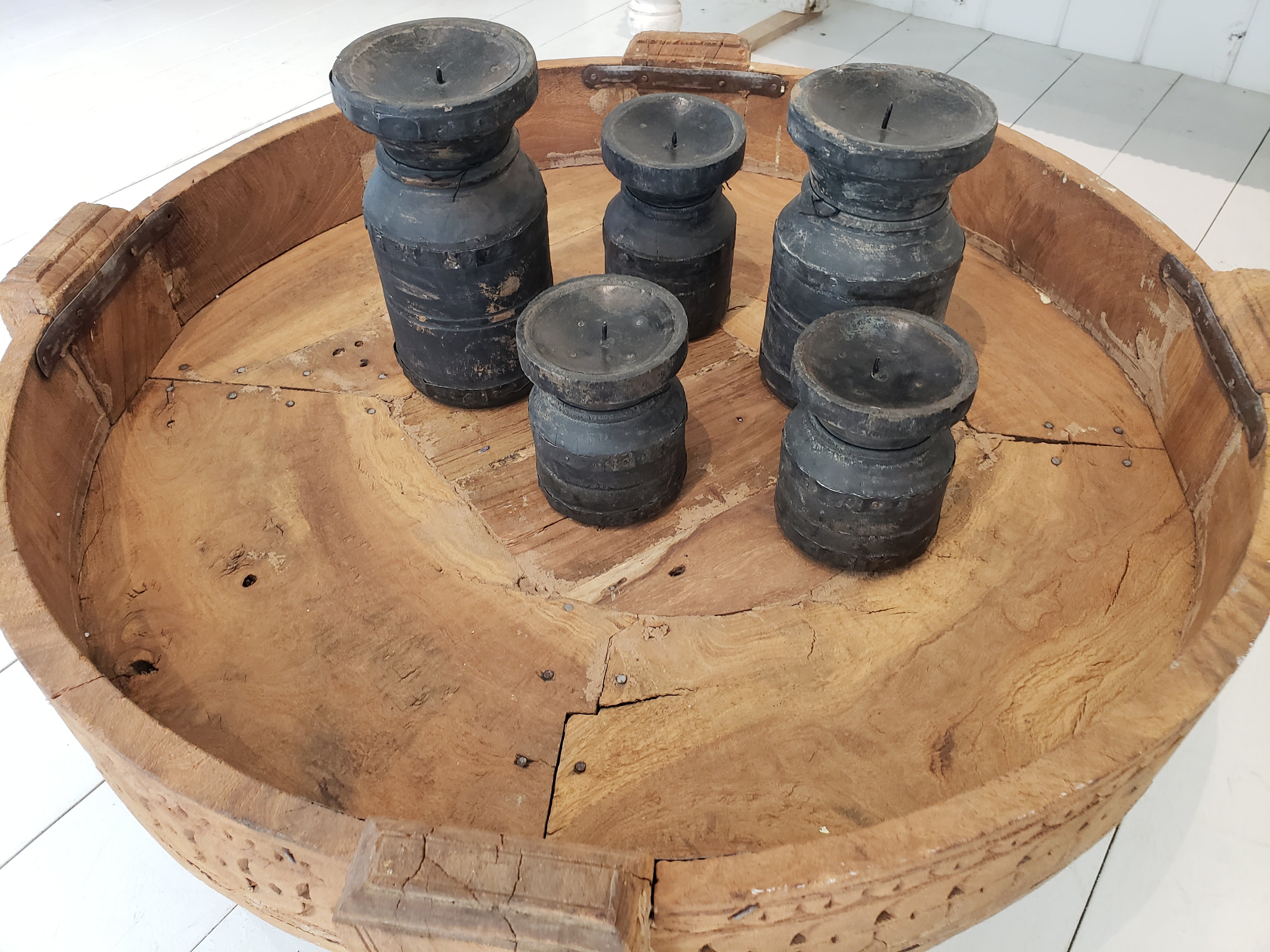 Black Wood Candle Holder