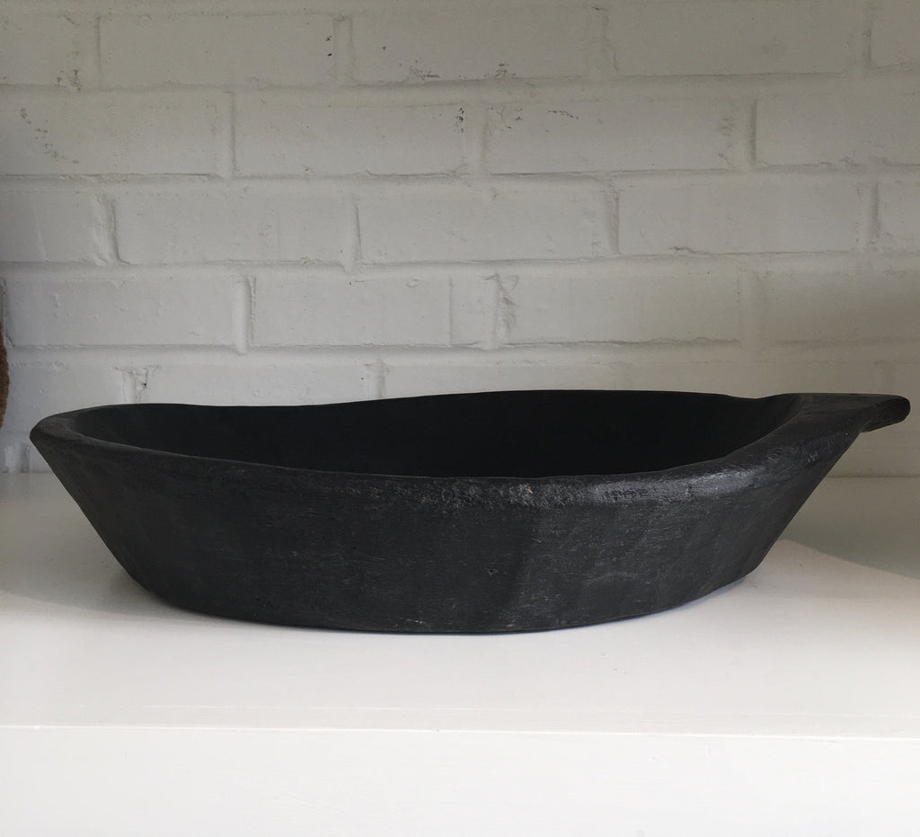 Found Decorative Black Wood Tray