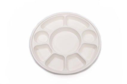 9 Compartment Sugarcane Bagasse Round Plate