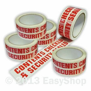 printed tape- contents checked and security sealed