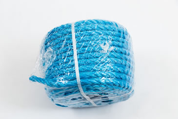 Blue polypropylene rope coil