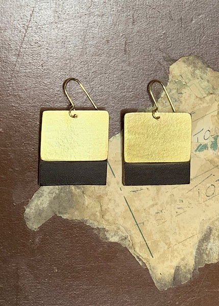 JOANNE SAVAGE - SQUARE LEATHER AND BRASS EARRINGS