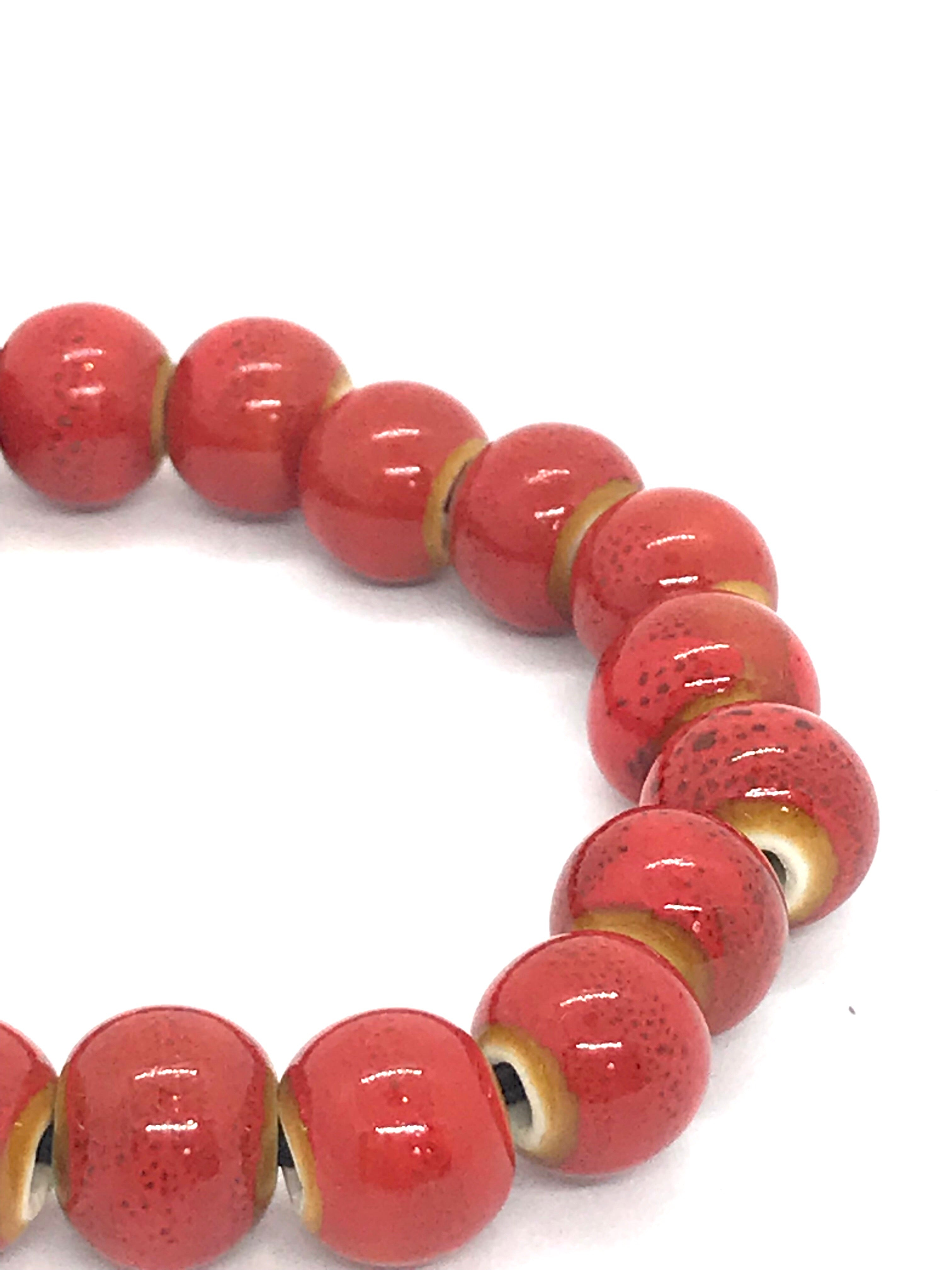 JIANHUI EGG SHAPE CERAMIC BRACELET BL1914 RED