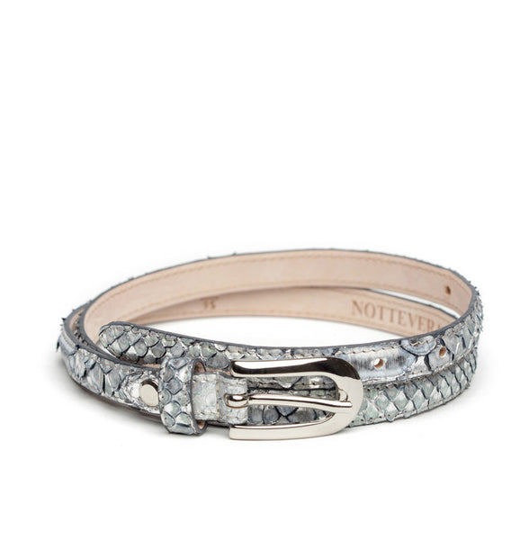 HOLLYWOOD SKINNY SILVER PYTHON BELT