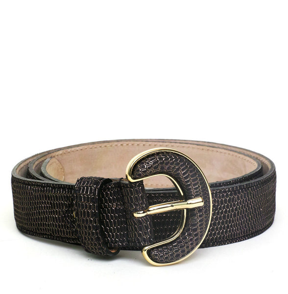 NINA GOLD-BUCKLED GRAY LEATHER BELT