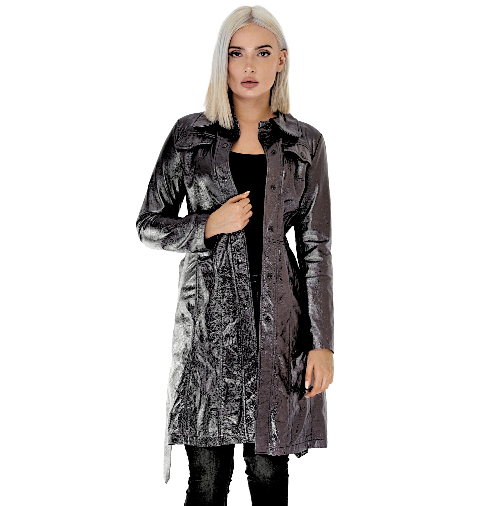 EVALINA LAMINATED SHEEPSKIN TRENCH - NOTTEVERA