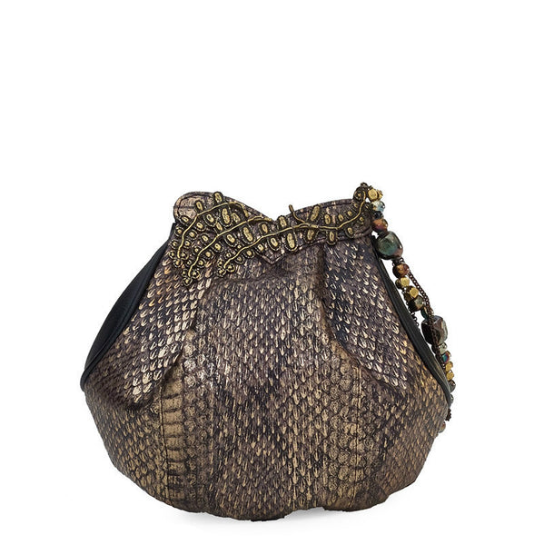 EFFIE SNAKESKIN BUCKET BAG